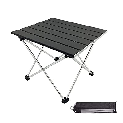 MORITIA Folding Camping Table, Portable Aluminum Lightweight Folding Table in a Bag Outdoor for Grill, Picnic, Beach, Useful for Dining & Cooking with Burner (S 15.5 x 13.8 x 12.6 inch, Black) : Sports & Outdoors