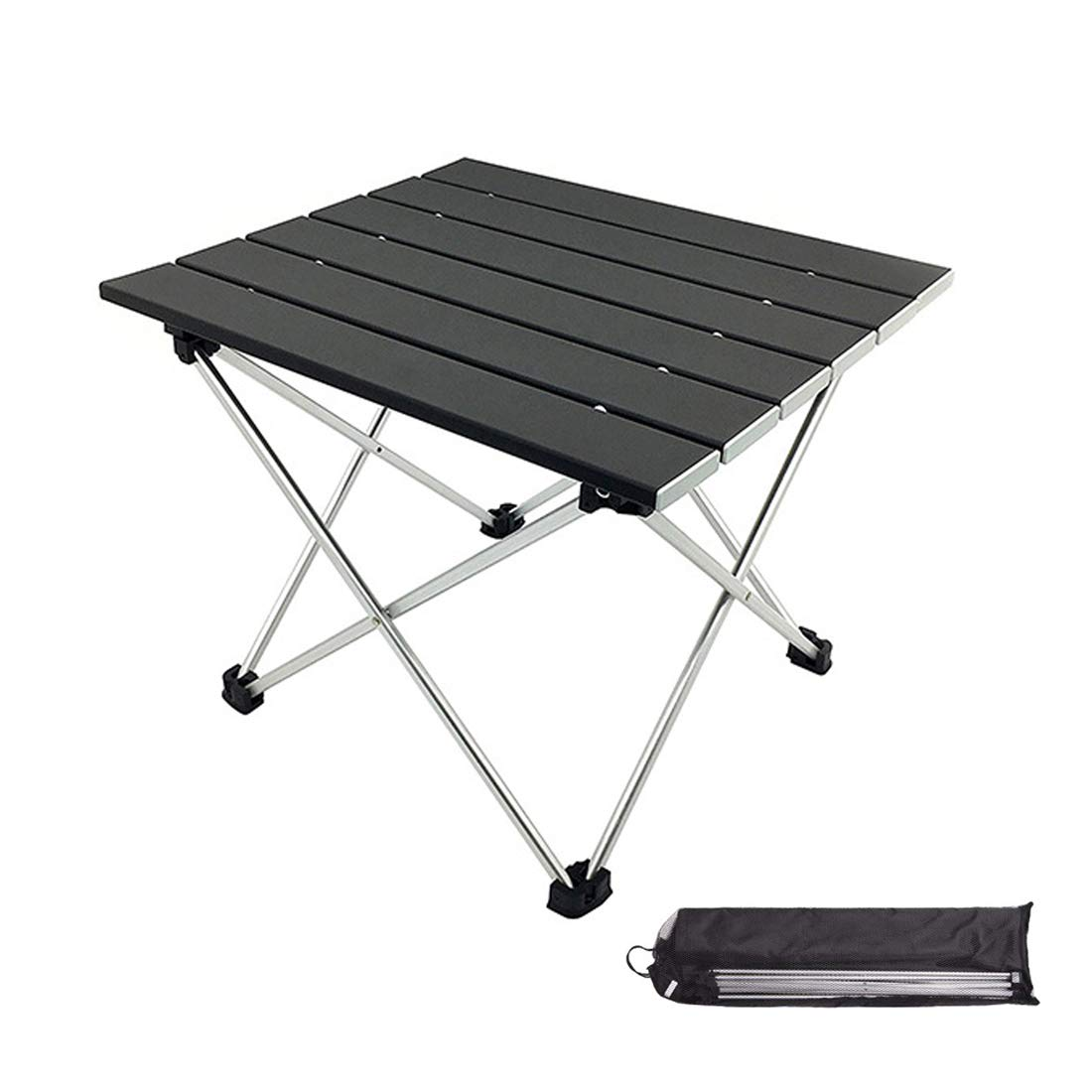 MORITIA Folding Camping Table, Portable Aluminum Lightweight Folding Table in a Bag Outdoor for Grill, Picnic, Beach, Useful for Dining Cooking with Burner