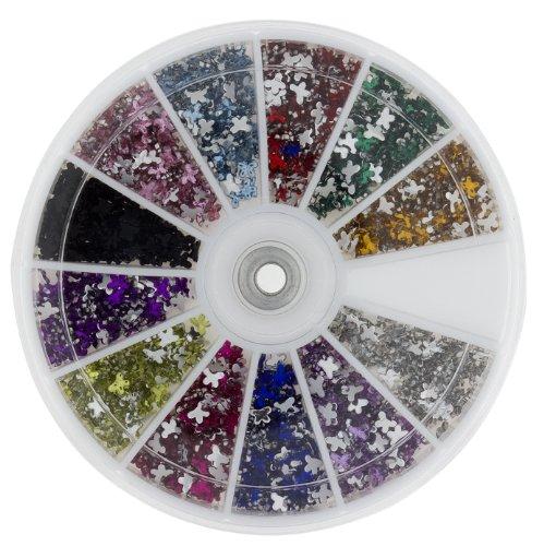 Premium MASH 1200 Piece 12 Color Nail Art Nailart Design Butterfly Shape Rhinestones