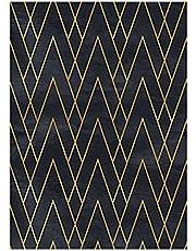 Zelfklevende Behang Zwart/Gouden Geometrische Streep Vinyl Wrap Film Verwijderbare Waterdichte Sticky Back Plastic Roll voor Slaapkamer Keuken Aanrecht Meubels Decoratieve Deur 40 cm X 2.5 m