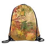 Autumn Leaves Pattern Drawstring Bags Portable Backpack Pocket Bag Travel Sport Gym Bag Yoga Runner Daypack