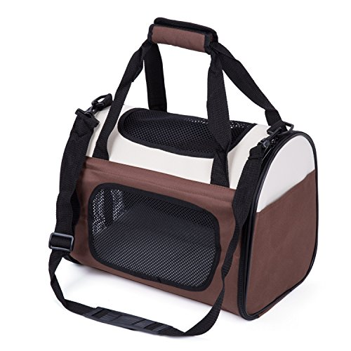 Decoroom Pet Carrier for Dogs Cats Light Weight Fabric Carrier Bag with Fleece Mat and Food Pocket Soft-Sided Foldable