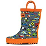 LONECONE Rain Boots with Easy-On Handles in Fun Patterns for Toddlers and Kids, Rush Hour, 3 Little Kid