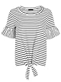 ROMWE Women's Short Sleeve Tie Front Knot Casual Loose Fit Tee T-Shirt White M