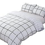karever Black and White Grid Duvet Cover Set Bedding Sets 100 Cotton 3 Piece Reversible Zipper Lightweight Girls Boys