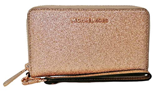 Michael Kors Jet Set Travel Large Flat Zip MF Phone Case Glitter Giftable Leather Wristlet Wallet