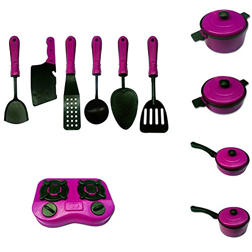 HsgbvictS Pretend Play 11Pcs/Set Children Kids Kitchen Cookware Cooking Pretend Role Play Toy Gift Non-Toxic, Cooking Toy, Cookware Kitchen Toy, Educational Toy - Rose Red