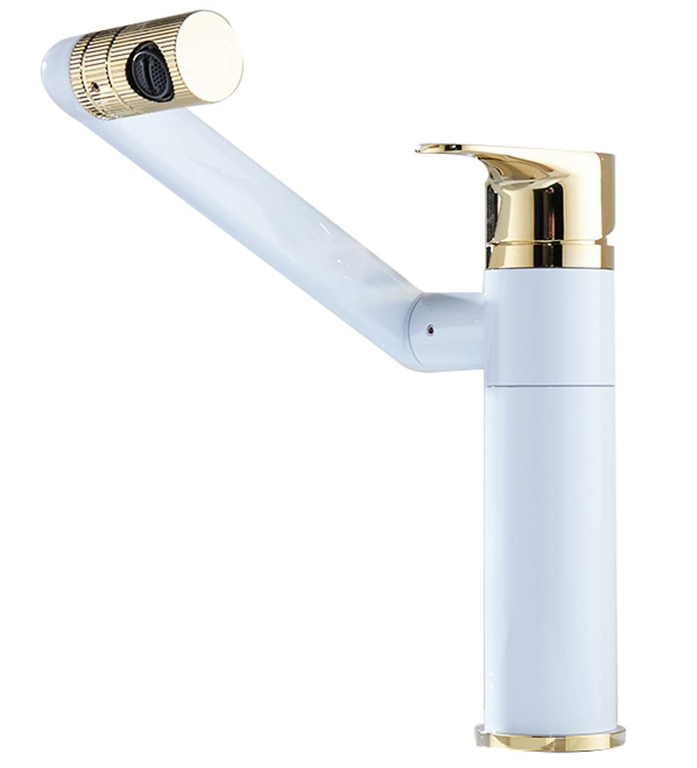 White A LIUSHUI Copper Basin Hot and Cold Water Faucet Thickening redatable Folding Bathroom Toilet Sink Wash Basin Heightening Faucet Multi-color Multi-style Optional (color   Bright, Design   B)