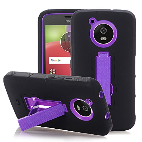 Moto E4 Case, [Unique Design] [Kickstand] [Hot Colors] Heavy Duty Tough Rugged Dual Layer Protective Case with Kickstand Cover for Motorola Moto E 4th Generation(USA Version) (Purple)
