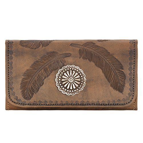 American West Women's Tri-Fold Sacred Bird Feather Wallet Distressed Brown One Size