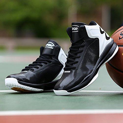 Gomnear Heren Lichtgewicht Basketbalschoenen Outdoor Prestaties Mode Ademende Sport Sneakers Zwart