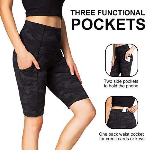 Running Shorts for Women High Waist Pants Yoga Leggings Biker Workout Shorts with 3 Pockets Regular Plus Size (Camo Black Ash M)