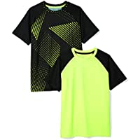 Amazon Essentials Boys' 2-Pack Short-Sleeve Raglan Active Tee,