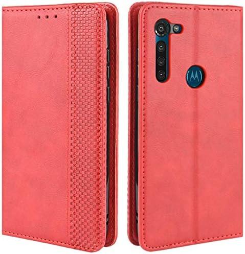 HualuBro Motorola Moto G8 ケース 手帳型 専用 スマホ 財布型 ケース 高質レトロの合成皮革 カバー case カード収納 スタンド機能 内蔵マグネット TPUケース レザーケース ソフトシリコン ケース 防指紋 レンズ保護 全面保護 (レッド)