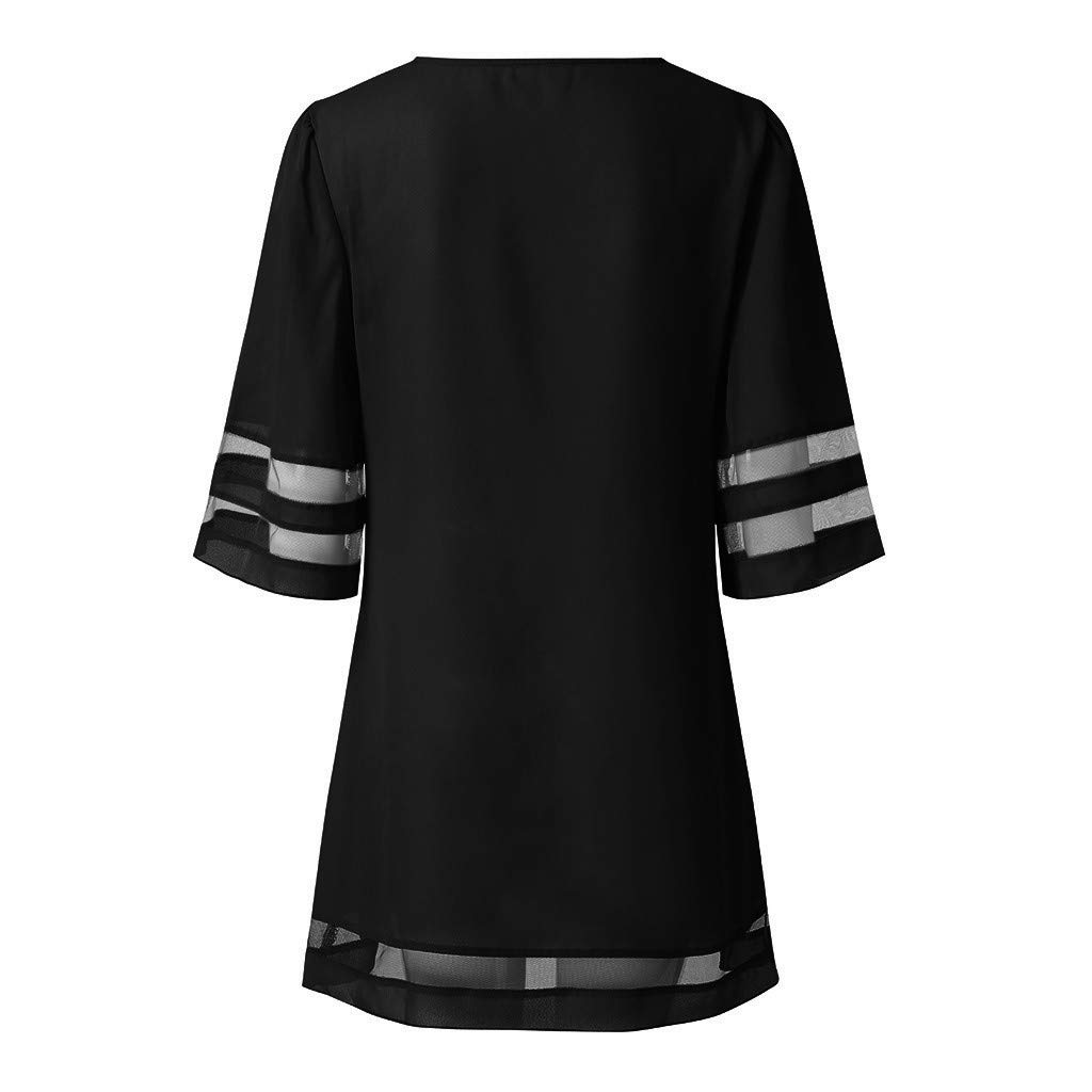 Women V-Neck T-Shirt Mini Dress {Mesh Panel Patchwork} 3//4 Bell Sleeve Solid Loose Tunic Tops Dresses