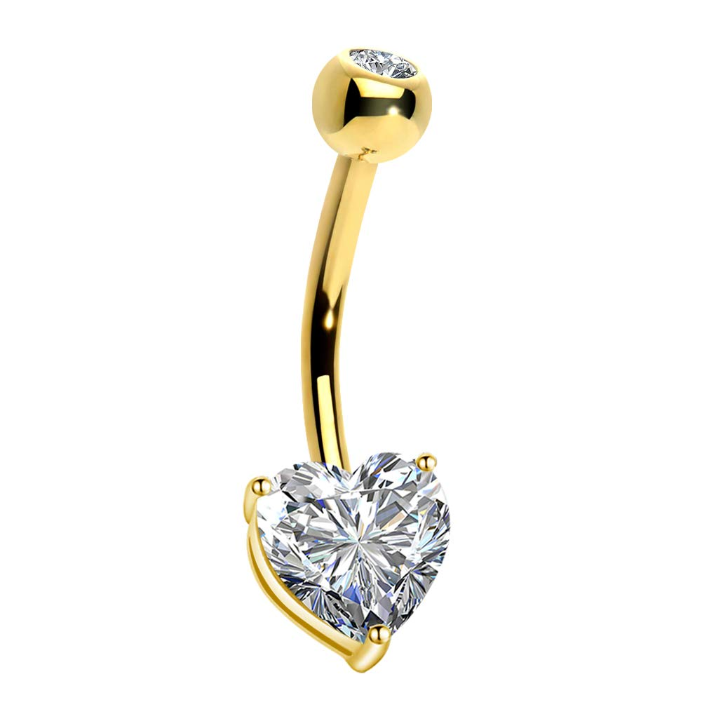 OUFER 14K Gold Heart Solitaire Cubic Zirconia Belly Button Rings Navel Rings Body Piercing Jewelry