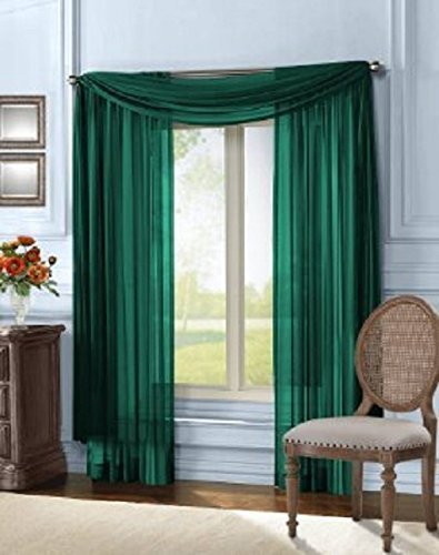 Hunter Green Window - Luxury Discounts 3 Piece Sheer Voile Curtain Panel Drape Set Includes 2 Panels and 1 Scarf (84