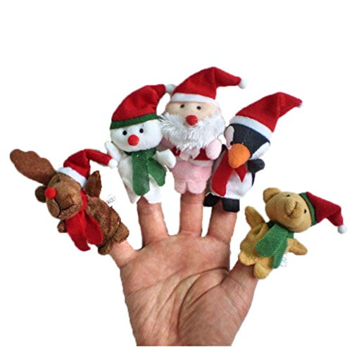 Iuhan 5pc Story Time Christmas Santa Claus and Friends Finger Puppets Toy (A)
