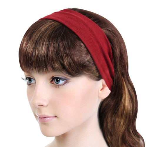 Simple Solid Color Stretch Headband - Red (1 - Rd Shop Fashion