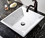 Above Counter Sink VCCUCINE White Square Above Counter Porcelain Ceramic Vessel Vanity Bathroom Sink Art Basin