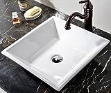 VCCUCINE White Square Above Counter Porcelain Ceramic Vessel Vanity Bathroom Sink Art Basin