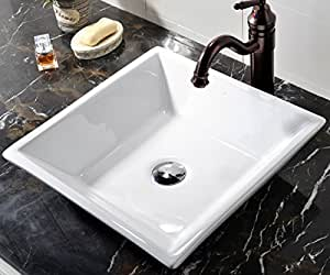 amazon bathroom sinks vccucine white square above counter porcelain ceramic 10094