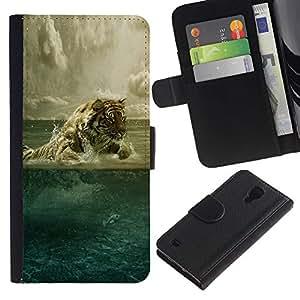 KLONGSHOP // Tirón de la caja Cartera de cuero con ranuras para tarjetas - Agua arte del tigre - Samsung Galaxy S4 IV I9500 //