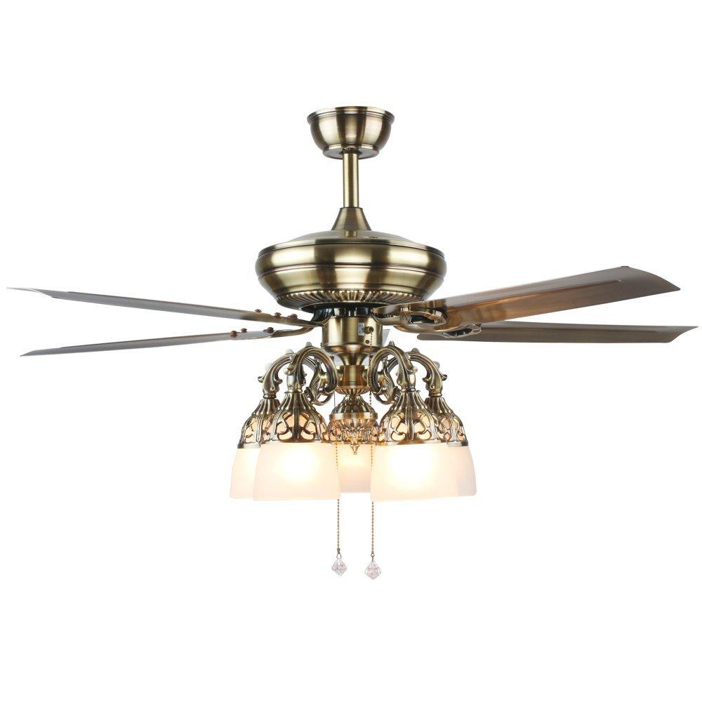 RainierLight Antique Ceiling Fan Led Light Chandelier for Bedroom/Living Room/Indoor 5 Metal Blades 5 Flower Glass Lampshade 52 Inch Mute Fan
