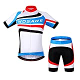 WOSAWE Mens Breathable Cycling Jersey Padded Shorts (Blue/White Suit, S)