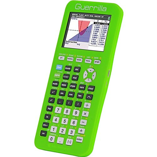 Guerrilla Silicone Case for Texas Instruments TI-84 Plus CE Color Edition Graphing Calculator With Screen protector and Graphing Ruler, Green