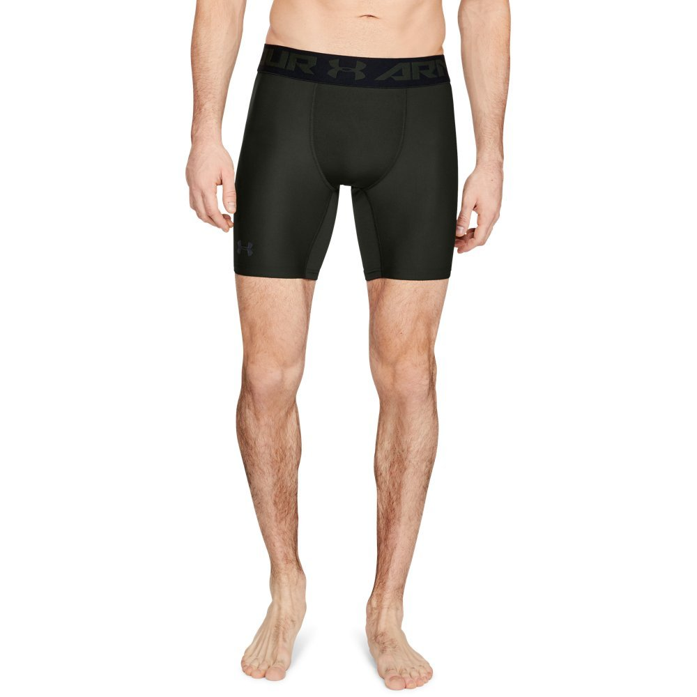 Under Armour Men's HeatGear Armour Mid Compression Shorts, Artillery Green (357)/Black, Small