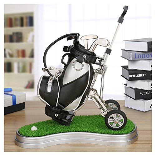olf Bag Pen Holder with Lawn Base and Golf pens 5-Piece Set of Golf Souvenir Tour Souvenir Novelty Gift (Silver and Black) (Golf Cart Desk)