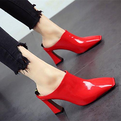 FLYRCX La primavera y el otoño de moda tacones sexy dama con áspero zapatos zapatos de cuero Parte mencionó la boca superficial c