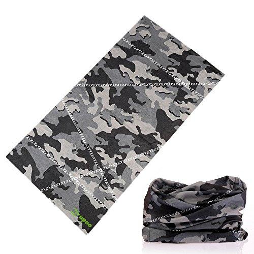 Headbands, Zupoo Camouflage Series 16-in-1 Multifunctional Headband Sports Magic Scarf,Collars Muffler Scarf Face Mask,Gray&Black