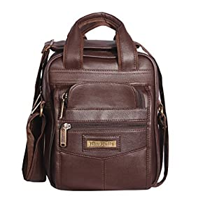 Handcuffs Leather Crossbody Sling Bag Briefcase Style for Men for Daily Use – 10 Inch (Brown)