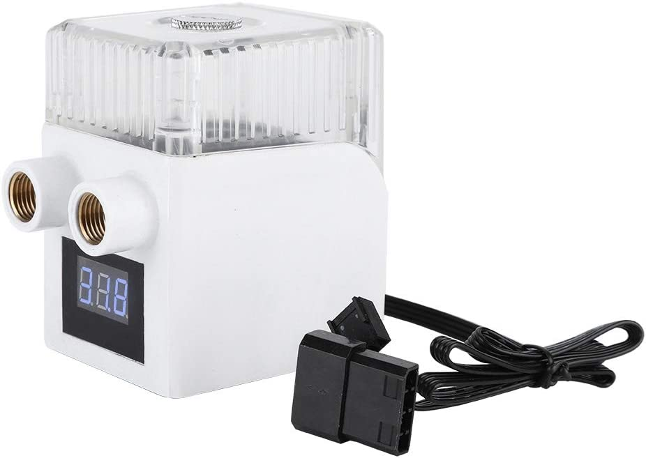 White 12V 5W 450L//H Three-Phase Motor Water Pump with PC Temperature Display G1//4 Thread Pump for Computer Water Cooling System ASHATA Water Cooling Pump