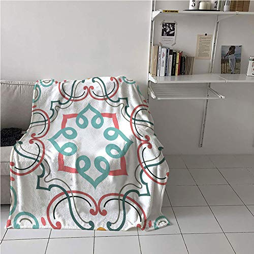 - Suchashome Oriental Stroller Blanket,Traditional Damask Pattern Geometrical Vintage Structure Victorian Style,Plush Throw Blanket,Blanket for Sofa Couch Bed 51