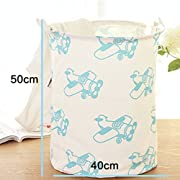 Yiuswoy Lightweight Cotton Laundry Basket Nursery Hamper Dirty Clothes Basket for College Dorms, Kids Room & Bathroom - Aircraft