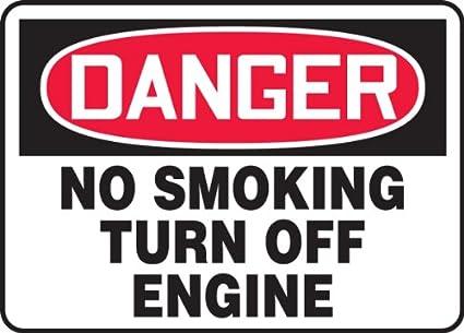 Amazon.com: No fumar apagar motor 10 x 14 .125 policarbonato ...
