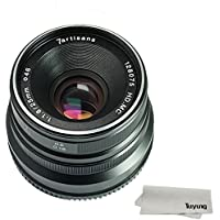 7artisans 25mm F1.8 Manual Focus Lens for Fujifilm Fuji Cameras X-A1 X-A10 X-A2 X-A3 X-AT X-M1 XM2 X-T1 X-T10 X-T2 X-T20 X-Pro1 X-Pro2 X-E1 X-E2 X-E2s - Black