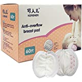 KERENER Anti-Overflow Breast Pads, Disposable Nursing Pads, Super Absorbent Ultra Comfortable Breastfeeding Milk Pads with Individually Wrapped (60 Pcs)