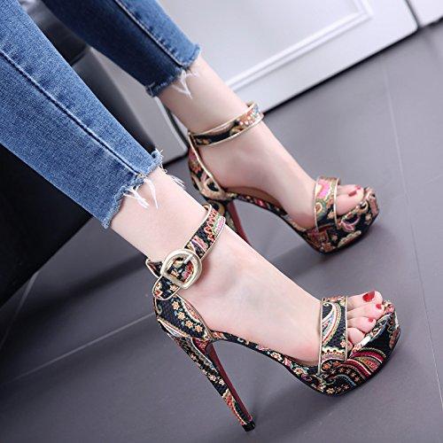 Estilo Nacional impreso con fino de la tabla impermeable Bare sandalias de punta mujeres de la manera hebilla de la palabra zapatos de tacón alto Black