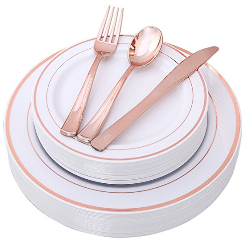 100 Piece Rose Gold Plates with Disposable Plastic Silverware, Elegant Tableware Set Includes : 20 Dinner Plates, 20 Dessert Plates, 20 Forks, 20 Knives, 20 - Large Place Knife Burgundy