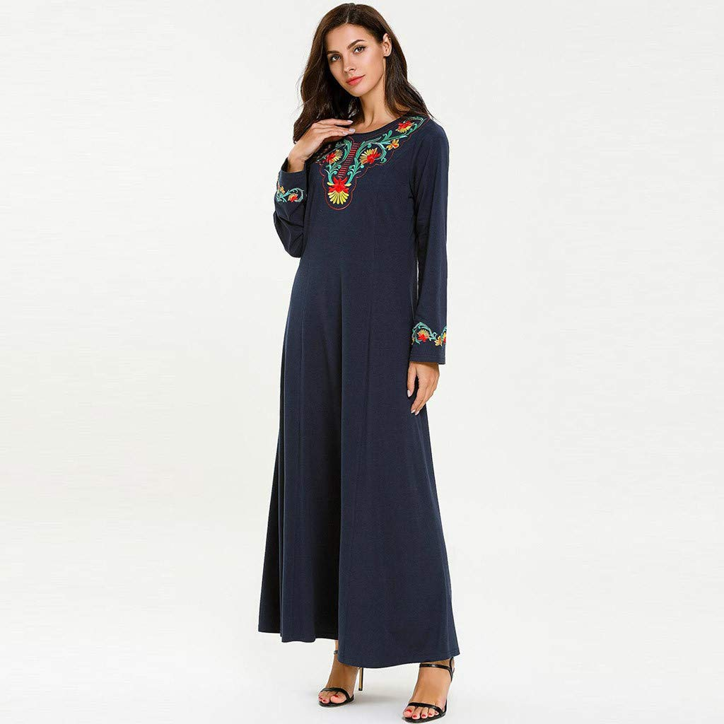 Women Muslim National Robe Middle Eastern Embroidered Abaya Long Sleeve Cocktail Maxi Dresses (XL, Navy)
