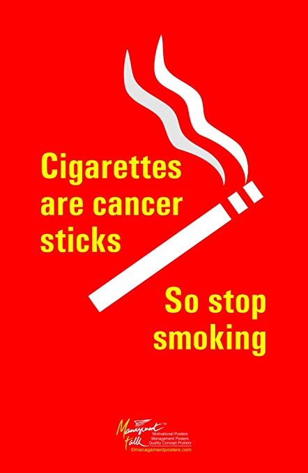97a891be654 Amazon.com  Stop Smoking as Cigarettes are Cancer Sticks Wall Poster ...