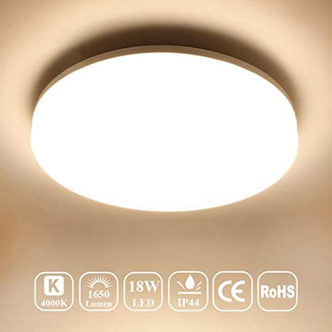 sports shoes e4f3f 9bf4f Airand 4000K Ceiling Lights LED Flush Mount 18W Ceiling Lamps 9.5 Inch  Flush Ceiling Light Fixture for Kitchen Bathroom Hallway Stairwell, 1650 ...