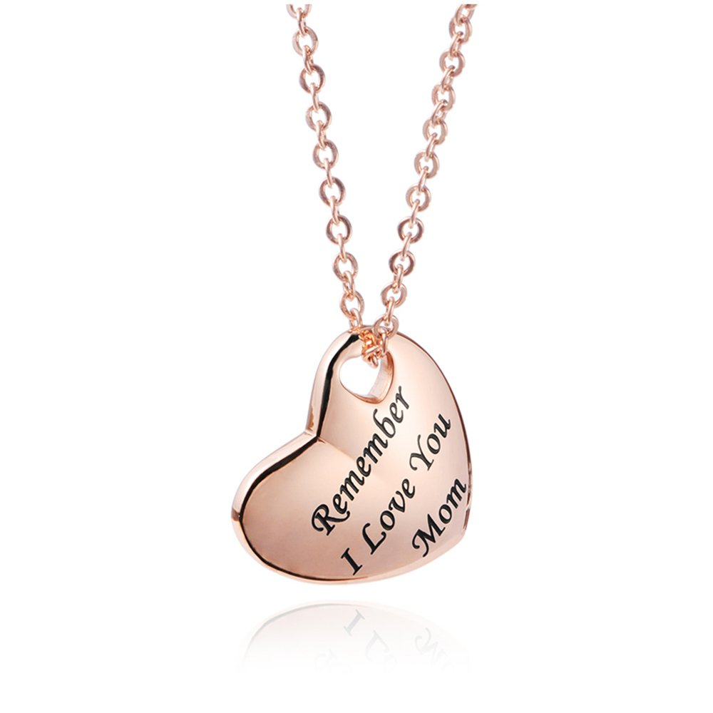 LinnaLove Rose gold Mom Necklace Remember i love you mom Mother's Day gift-Stainless steel heart charm for Mother(RG)
