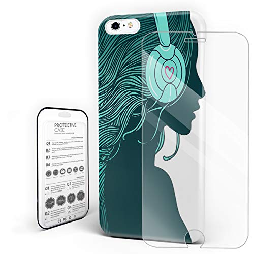 Compatible with iPhone 6/6s Plus Case - DJ Girl Profile with Long Hair in Headphones Nightclub Silhouettes Party Picture Slim Fit Hard PC Shell Anti-Scratch Back Phone Cover]()