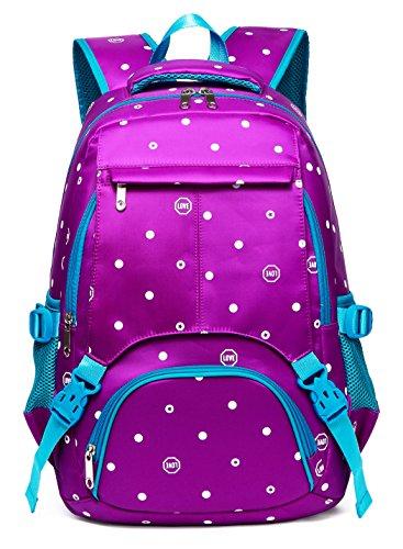 Polka Dots School Backpacks for Girls Kids Elementary School Bags Bookbag (Polk-Dot,Purple&Blue) (Best Backpack For Grad School)