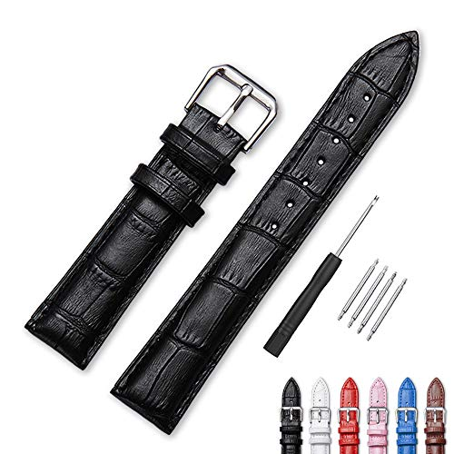 Narako Alligator Style Genuine Leather Watch Bands,Genuine Calf Leather Replacement Watch Strap with Stainless Metal Buckle Clasp 12mm, 14mm, 16mm, 18mm, 20mm, 22mm, 24mm for Men and Wom (14mm, Black) ()